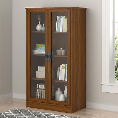 (Wood Storage Display Cabinet Glass Doors Bookcase China Curio Multi-Use Cupboard)