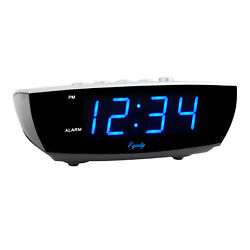 Blue 0.9 LED Digital Desktop Alarm Clock Manual Time Set W/ Loud Alarm Sound