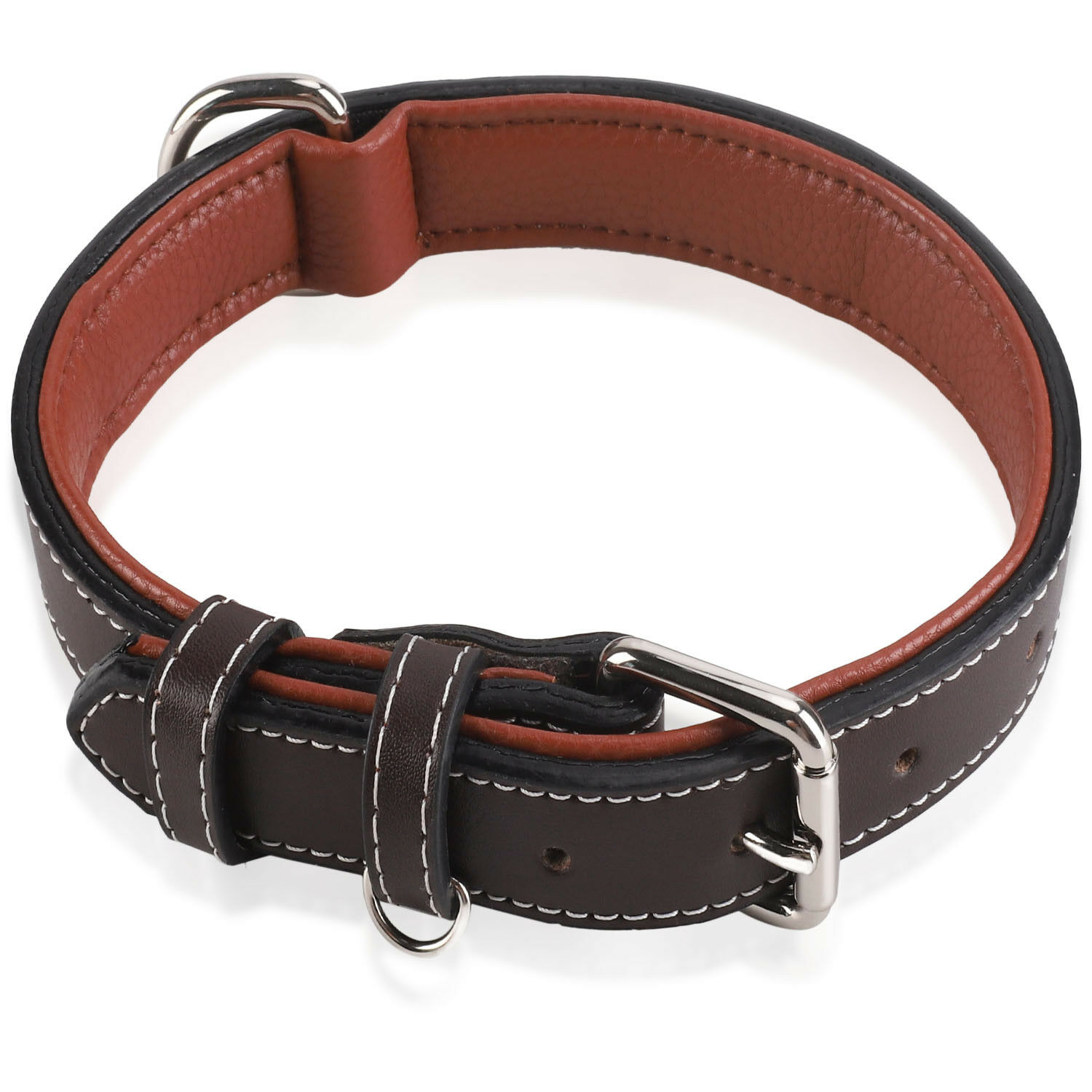 Padded Genuine Leather Dog Collar, Heavy Duty Pet Collars fo