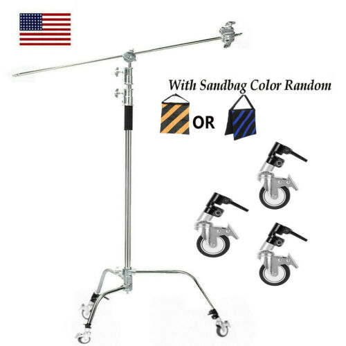 Heavy Duty Light Reflector C Stand with Boom Arm Castor Wheels And Sandbag
