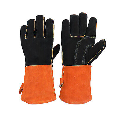 Leather Welding Gloves Heat Fire Resistant Grill Work Glove Bbq Oven Blacksmith