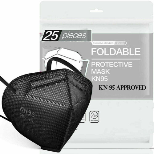 Black Color Kn95 Protective 5 Layer Face Mask Disposable Respirator Bfe 95%