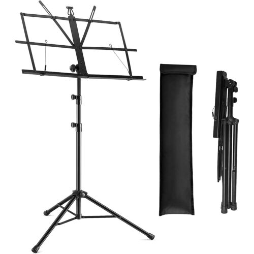 Portable Sheet Music Stand Folding Music Stand Sturdy Dual Use Metal MUS FLD
