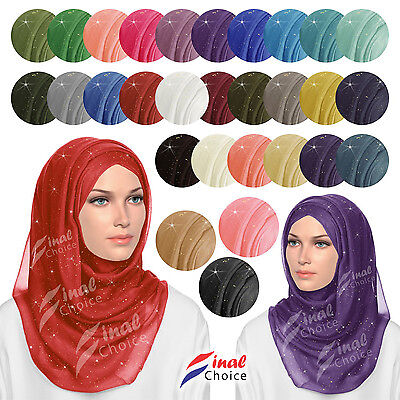 Glitter Sparkle Shimmer Style Hijab Maxi Scarf Plain Colours Viscose Shiney P&P