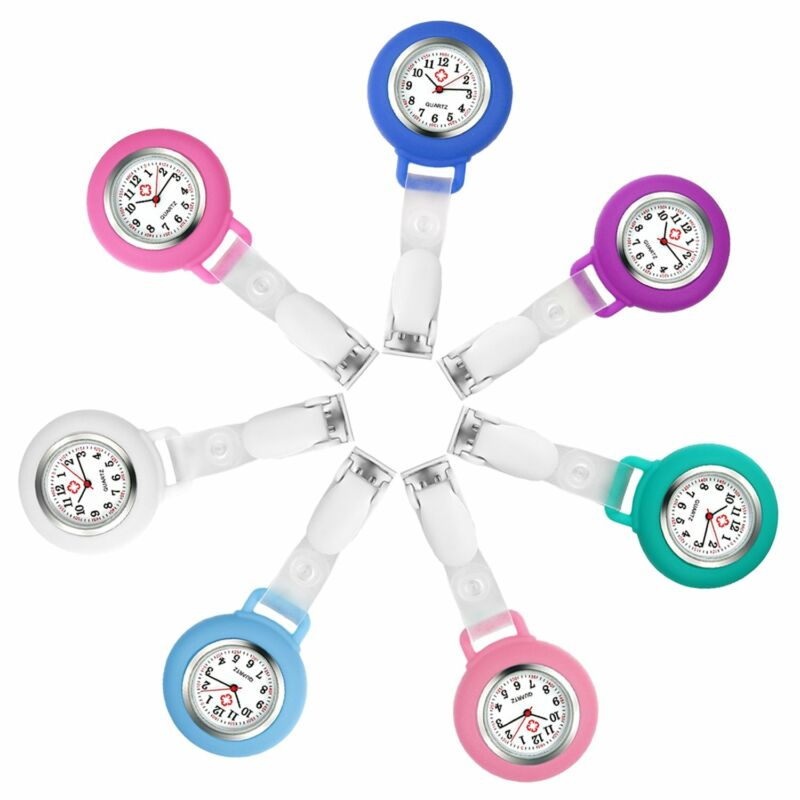 Silicone Case Number Dial Fob Brooch Clip-on Hanging Pocket Nurse Watch Women