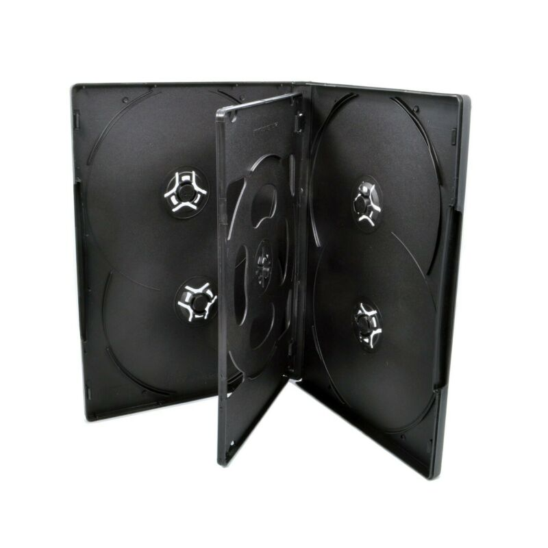 50 ct Standard 14mm Multi Hold 6 Six Discs CD DVD Black Case Movie Box