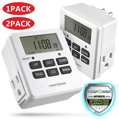 7 Day Heavy Duty Digital Electric Programmable Timer Dual Outlet Switch Battery