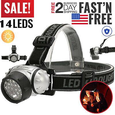 LED Headlamp Flashlight Head Torch Light 4 Modes Adjustable Headband Lamp 14 LED 14 Led Headlamp