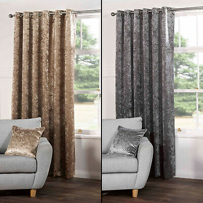 - PAIR OF CRUSHED VELVET FULLY LINED EYELET CURTAINS SILVER GREY CHAMPAGNE GOLD