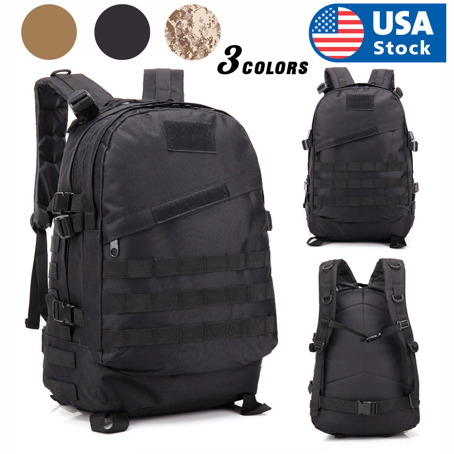 40L Military Tactical Backpack Outdoor Rucksack Bag Waterpro