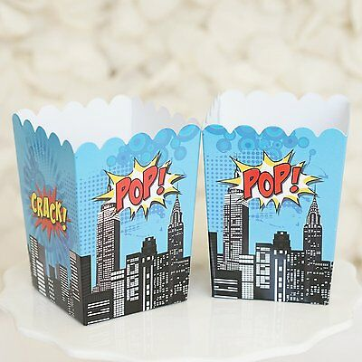 Set of 10 Superhero Popcorn Favor Boxes Batman Superman Theme Red & Blue