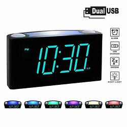 Rocam Digital Alarm Clock for Bedrooms - Large 6.5 LED Display with Dimmer