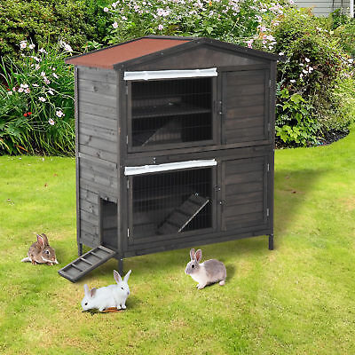 """Pawhut 52"""" Fir Wooden Rabbit Hutch 2-Level Chicken Coop Small Animal Cage House"""