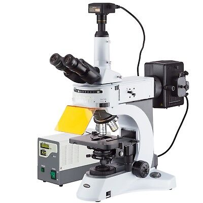 Amscope 40x-1000x Upright Fluorescence Microscope With Rotating Filter Turret