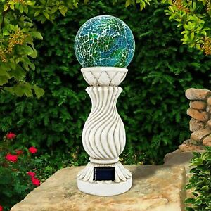 SOLAR MOSAIC BALL ON COLUMN OUTDOOR GARDEN LIGHT DECORATION ORNAMENT BALL LIGHT