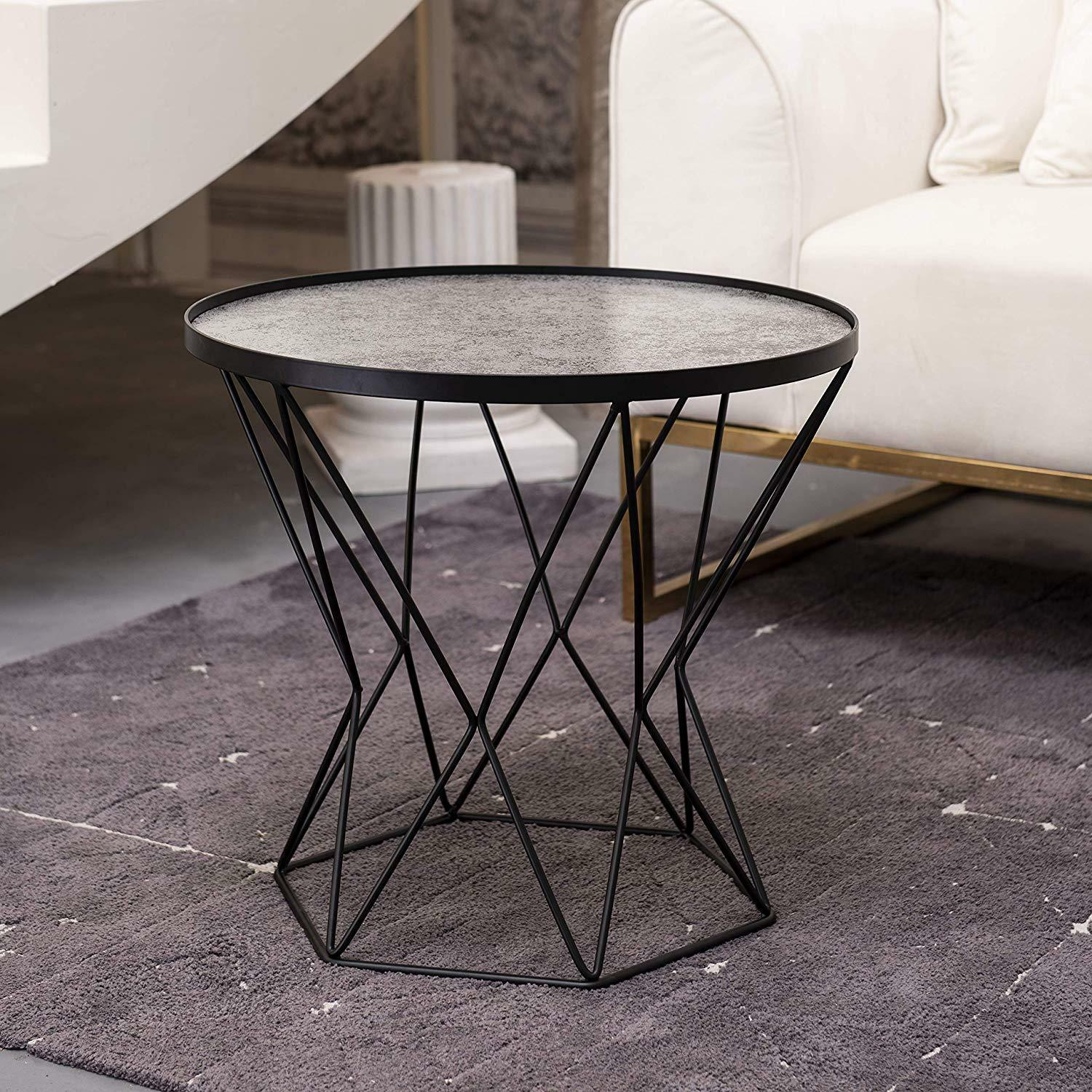 Round End Table Modern Glass Top w/ Metal Frame Coffee Side