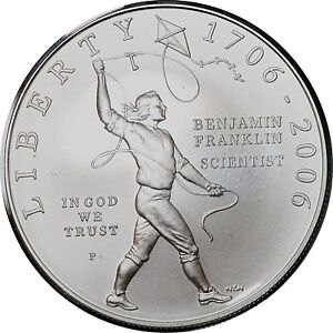 2006 BENJAMIN FRANKLIN - SCIENTIST BU SILVER DOLLAR W/ BOX & COA