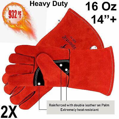2 Pairs Welder Premium Cowhide Leather Welding Gloves Heat Resistant Lined