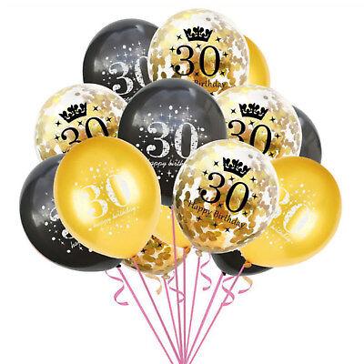 Set für 30. Geburtstag Feier Party Ballons Gold Schwarz (Gold Geburtstag Ballons)