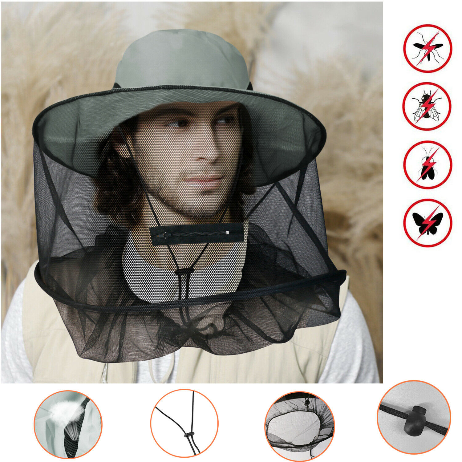 Outdoor Mosquito Head Face Net Hat Sun Insect Bug Protector Mesh Fishing Cap Camping & Hiking