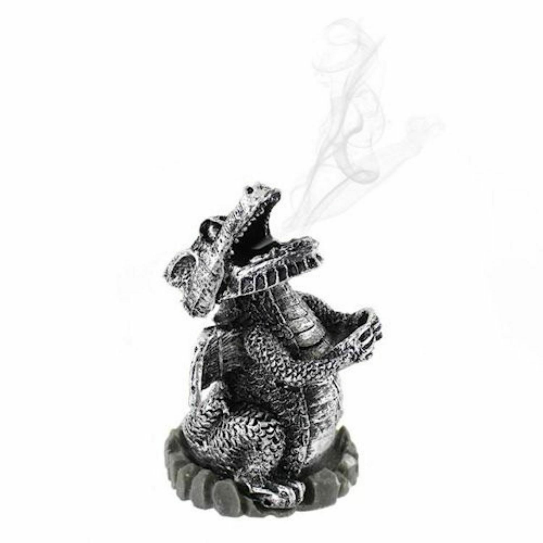 Silver Smoking Dragon Incense Cone Holder