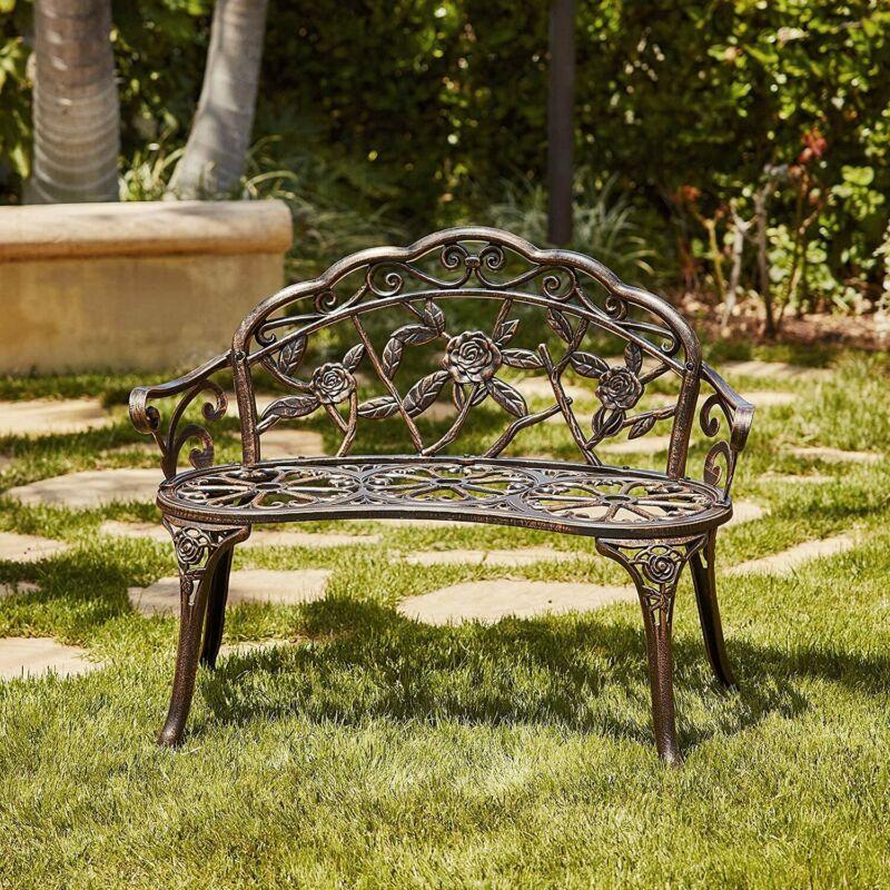 Patio Garden Bench Chair Porch Park Cast Aluminum Outdoor Rose Antique Bronze