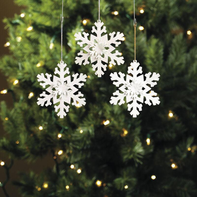 12 Metal Iridescent Glitter White Winter Snowflake Christmas Ornaments