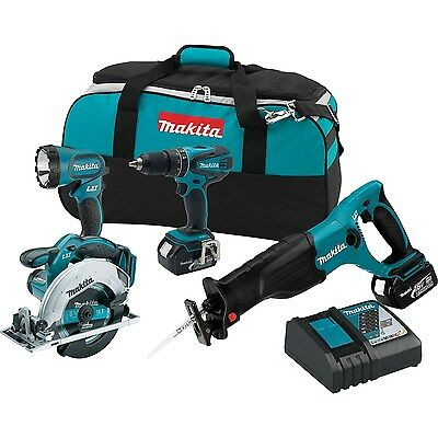 Makita 18 Volt LXT Lithium Ion Cordless 4 Pc. Combo Tool Kit w/ 3.0 Ah Batteries
