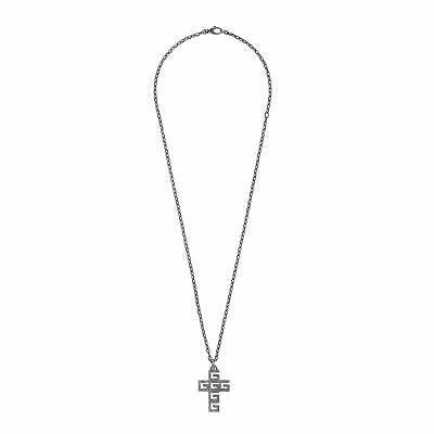 New Original Gucci Sterling G-Cube Cross Men's Necklace YBB55239500100U