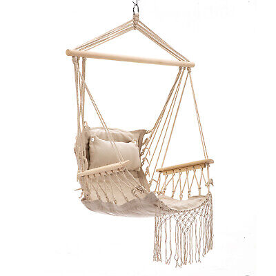 Hanging Rope Hammock Chair Swing Seat, Pillow Included, Indoor/ Outdoor Tan (Including Rope)