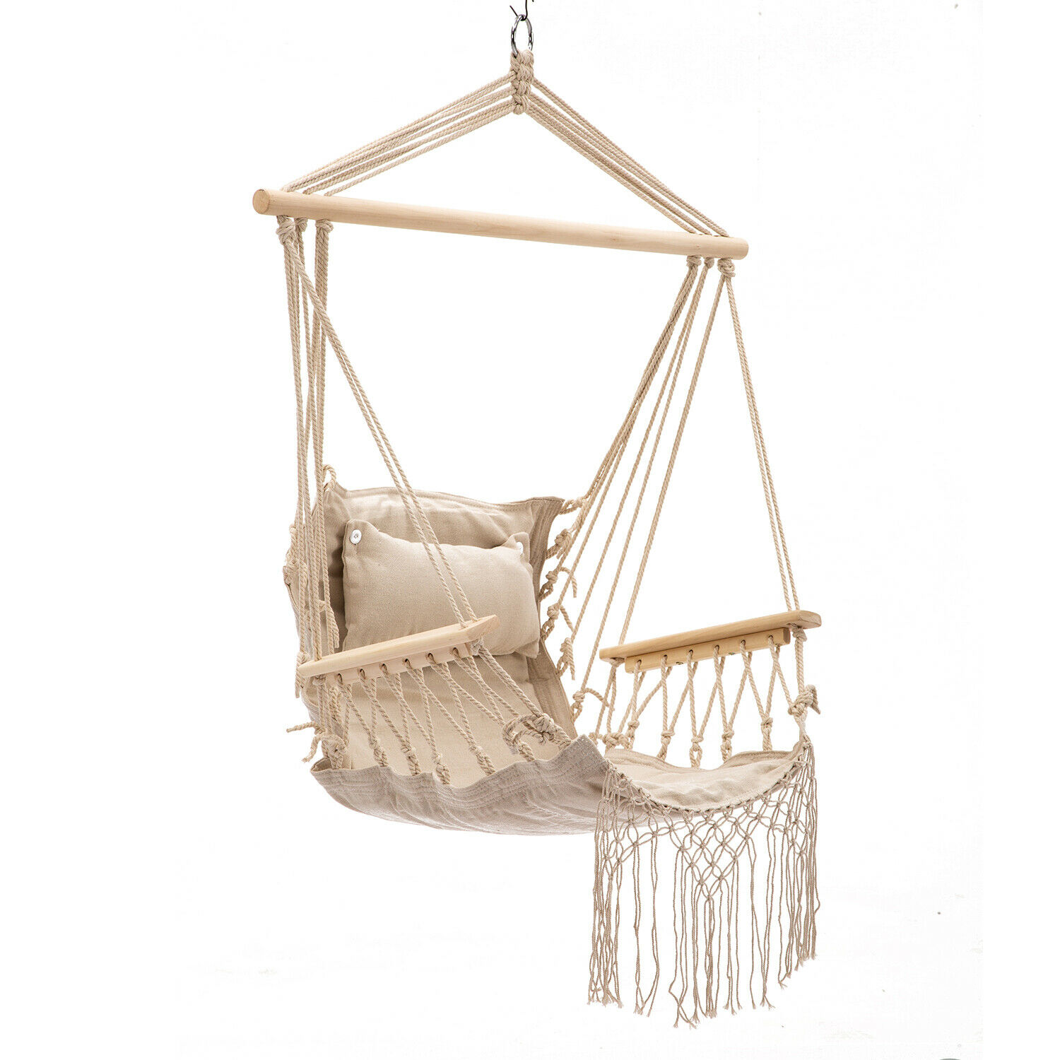 Hanging Rope Hammock Chair Swing Seat, Pillow Included, In