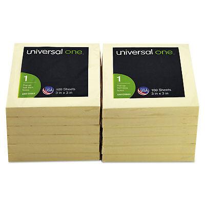 Universal Fan-folded Pop-up Notes 3 X 3 Yellow 100-sheet 12pack 35664