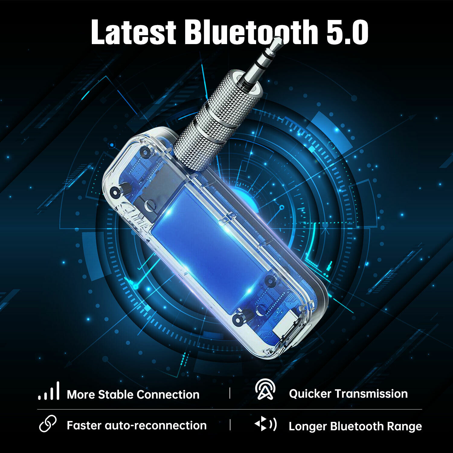 Bluetooth 5.0 USB Wireless Transmitter Receiver 2in1 Audio Adapter 3.5mm Aux Car Computers/Tablets & Networking