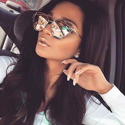 Fancy Trendy Cat Eye Sunglasses Flat Mirrored Lens Metal Frame Women Fashion (Mirror Cat Eye Sunglasses)