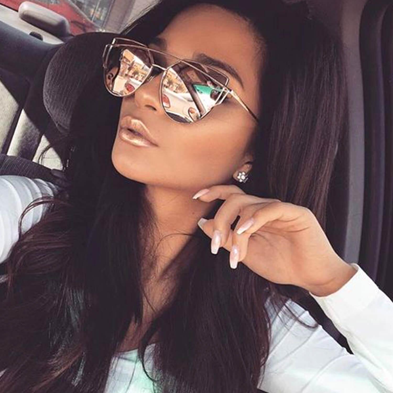 Fancy Trendy Cat Eye Sunglasses Flat Mirrored Lens Metal Fra