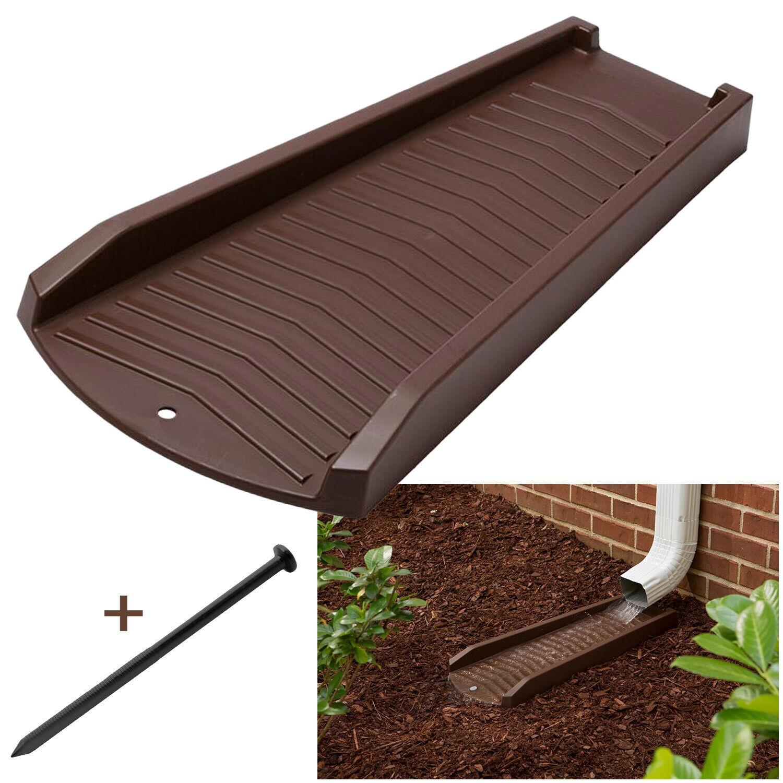 2 or 4 Pack Decorative Downspout Brown Splash Block Rain Gutter Drain Extend Building & Hardware