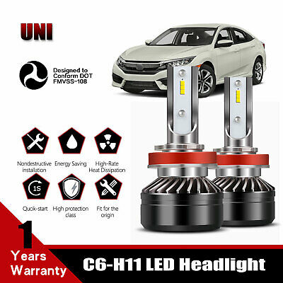Fit 2006-2019 HONDA CIVIC H11 3200LM 40W LED Headlight Bulb DOT Conversion