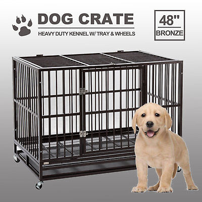 """48"""" Dog Crate Large Kennel Cage Heavy Duty Metal Pet Playpen W/Wheels & Tray"""