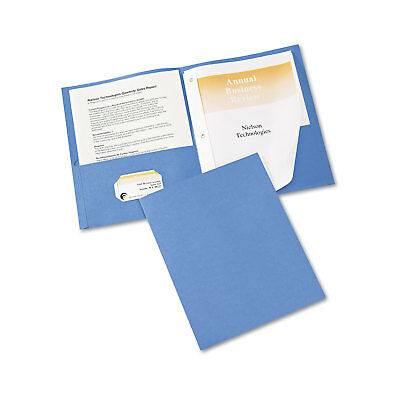 Avery Two-pocket Folder Prong Fastener Letter 12 Capacity Light Blue 25box