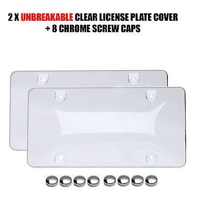 2x UNBREAKABLE Clear License Plate Covers Tag Frame Bubble Shield - Unbreakable Bubbles