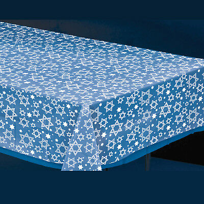 Hanukkah Plastic Tablecover - Hanukkah Party Supplies Clear Star of David Design (Hanukkah Supplies)