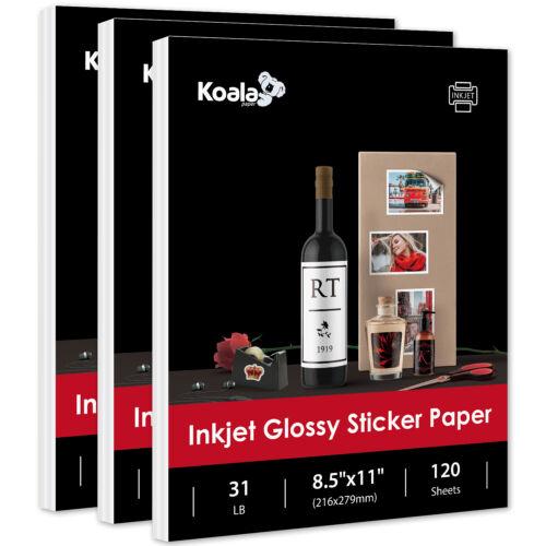 360 Full Sheets Koala 8.5x11 Glossy Adhesive Sticker Inkjet Printer Photo Paper