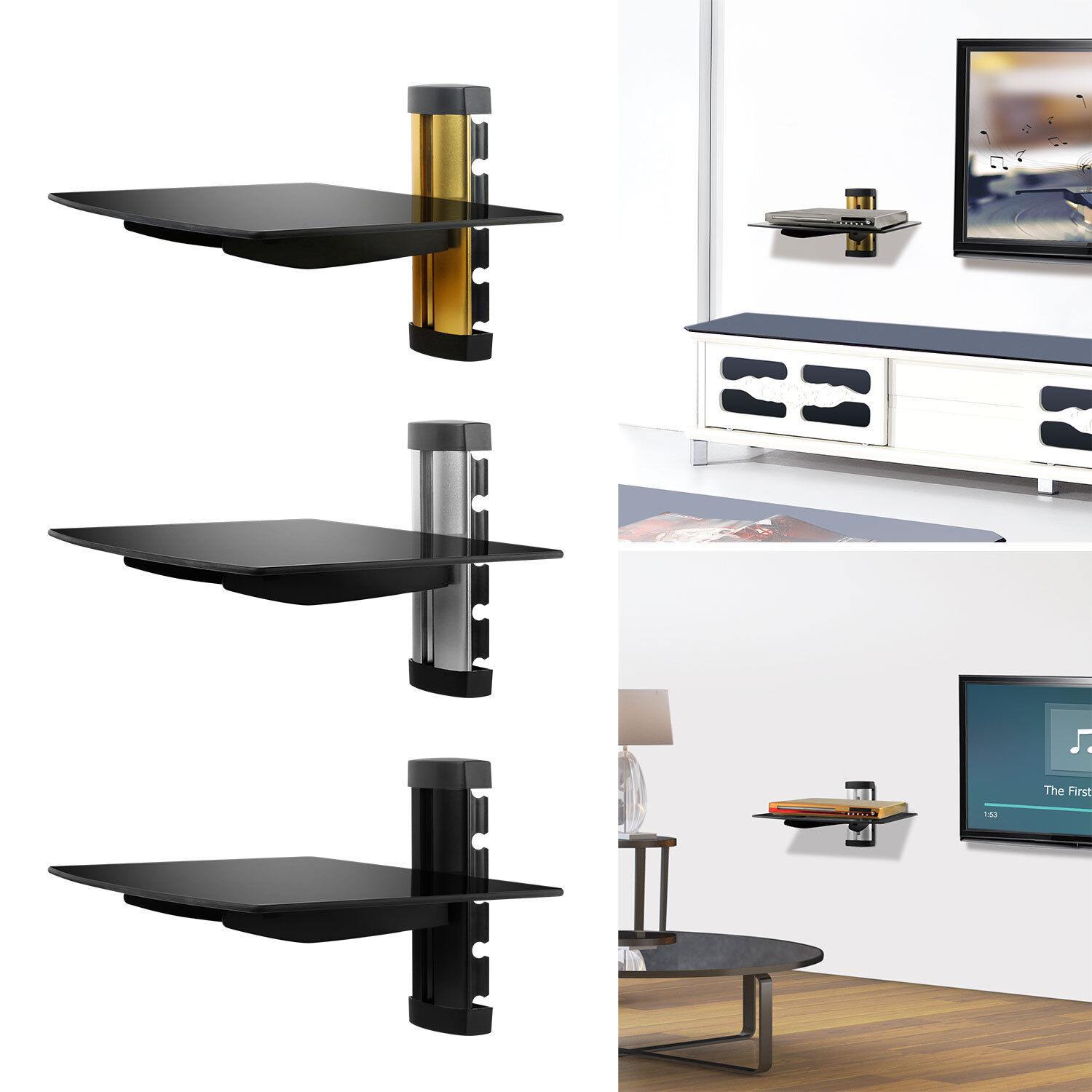 Details About 2 Tier Dual Glass Shelf Wall Mount Under Tv Cable Box Component Dvr Dvd Bracket