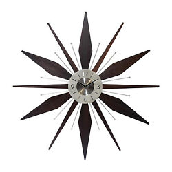 Infinity Instruments Sunburst Mid-Century Utopia Metal Wall Clock, Dark Walnut