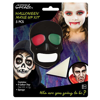 Scary Horror Skeleton Skull Bones Halloween Face Paint Stage Make Up Kit  (Paint Scary Halloween Face)