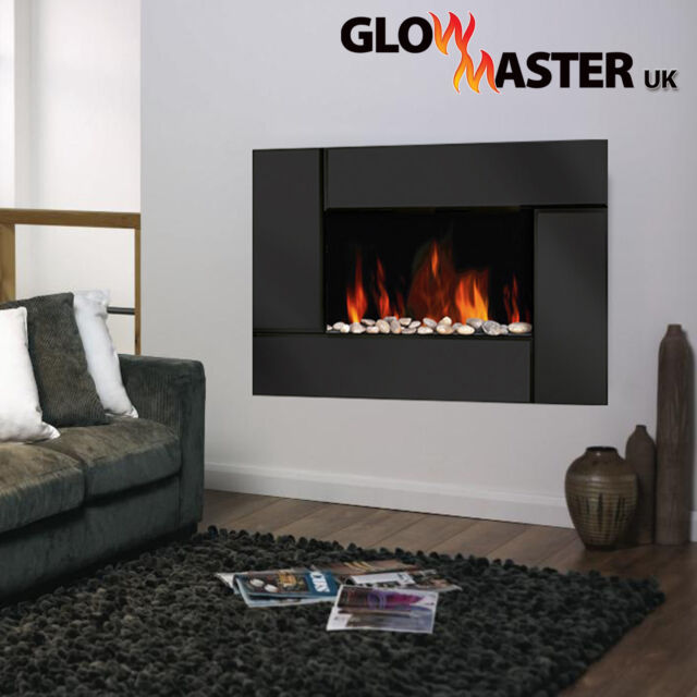 LED Electric Fire Wall Mounted Fireplace Black Glass Widescreen