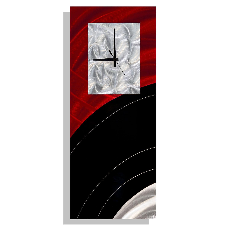 Metal Wall Clock Modern Art Red Black Abstract Home Office Decor Jon Allen 753677061101 Ebay