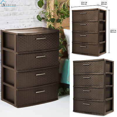 (4 Drawers Wide Weave Tower Storage Sterilite Plastic Home Organizer Espresso New)