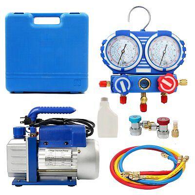 Super Deal 3.5CFM/4CFM/5CFM 1/4HP Air Vacuum Pump HVAC Kit AC A/C Manifold Gauge for sale  Canada