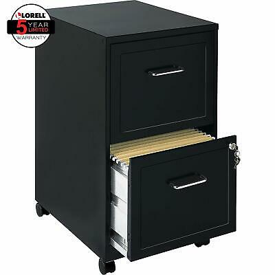 File Cabinet Black 2 Drawer Mobile Locking Hanging File Folders